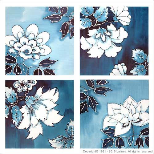 SP0456 Set for Canvas: Delft Blue Flowers