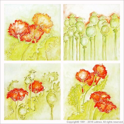 BSP0465 Bundleset for canvas:  Poppies